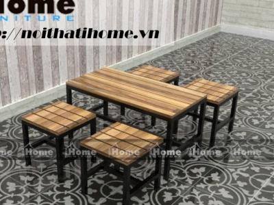 Hình ảnh Bàn ghế cafe 1 bàn 4 ghế không tựa chân sắt