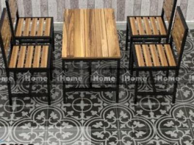 Hình ảnh Bàn ghế cafe gỗ thông pallet chân sắt
