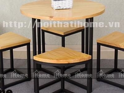 Hình ảnh Bàn ghế cafe mặt gỗ tròn, phong cách
