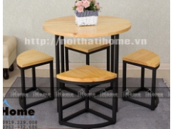Bàn ghế cafe mặt gỗ tròn, phong cách